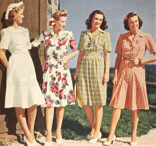Four timelessly lovely 1940s summer dresses.   1940s fashion .