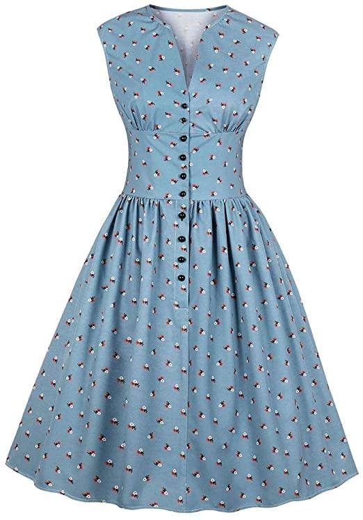 Amazon.com: 1940s Dresses for Women Girls Floral Print Vintage .