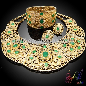 Fashion Costume African Jewelry Sets Elegant 22k Gold Plated .