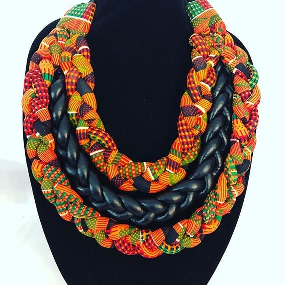 African Jewelry Ankara Necklace Braided Necklace Bib | Et