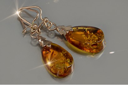 Russian rose gold Amber earrings veab002 - Russian Soviet Vintage .