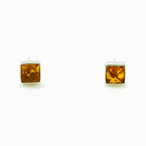 Square Stud Amber Earrings - Honey - Polish Art Cent
