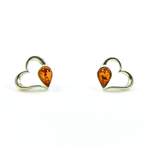 Polish Art Center - Heart Shaped Silver And Amber Earrin