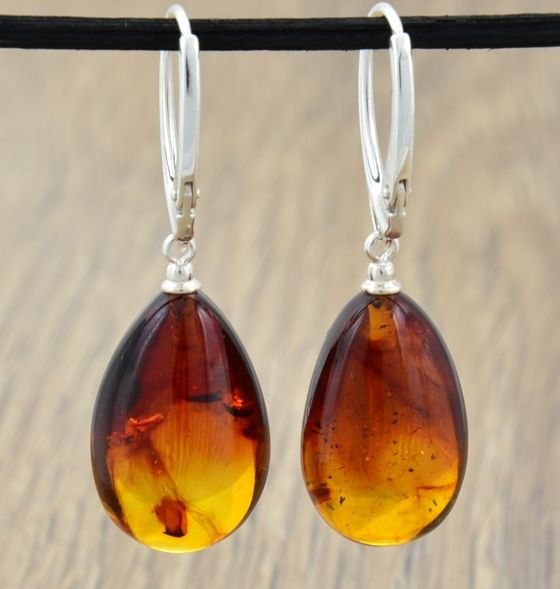 Gorgeous, Unique Baltic Amber Earrings Made of Amazing Ambe