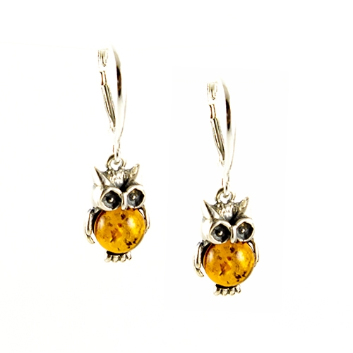 Polish Art Center - Silver Owl Amber Earrin