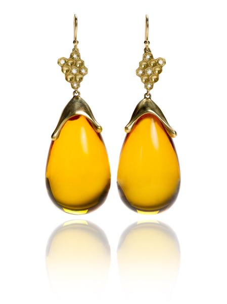 Honeycomb Amber Earrings in 18k Gold with Diamonds – Annette .