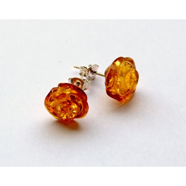 Wholesale Honey Rose Amber Earrings with Silver s