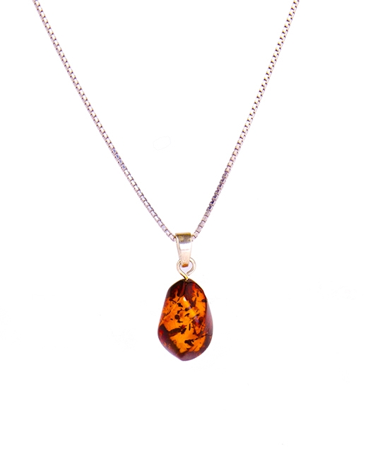 Twisted Amber Necklace with 925 Silver Cha