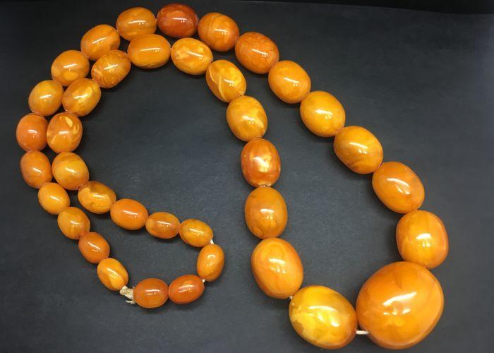 Vintage Baltic Amber Necklace old egg yolk colour rare unique .