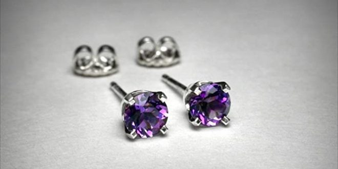 Amazon.com: Genuine amethyst earrings, in 14K white gold. AAA .