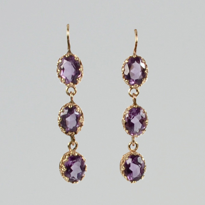 Antique 14K Gold Amethyst Earrings | Keils Antiques | New Orleans .
