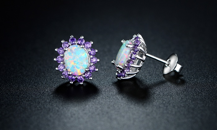 Up To 69% Off on Opal and Amethyst Stud Earrings | Groupon Goo
