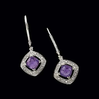 Amethyst Diamond Dangle Earrin