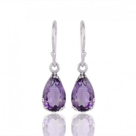 Silver Earrings Dangle Amethyst and Silver Designer Drop Earrin