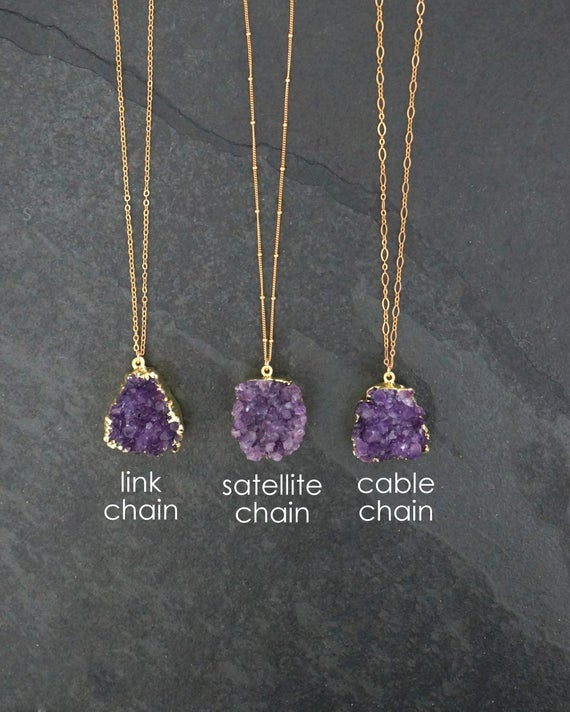Amethyst Necklace / Amethyst Jewelry / Druzy Necklace / | Et