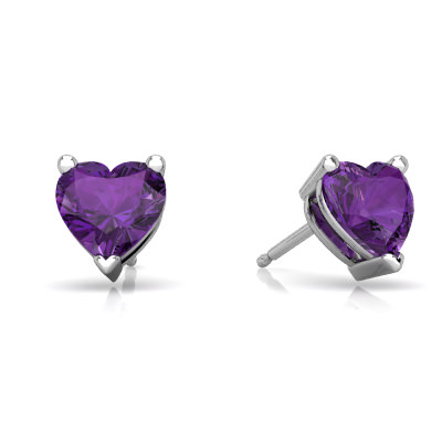 Amethyst Heart Stud earrings E1862-WAM