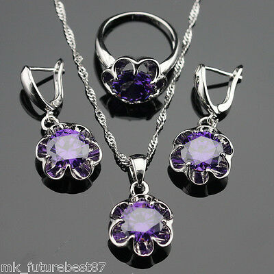 Flower Purple Amethyst Jewelry Set Women 925 Silver Pendant .
