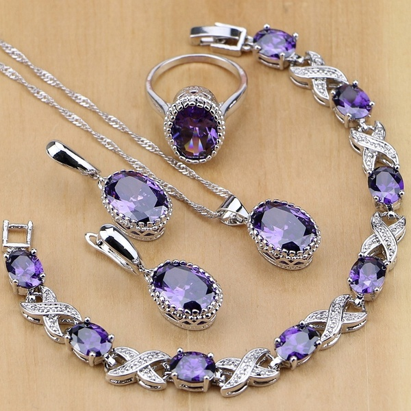 925 Silver Jewelry Purple Amethyst Jewelry Sets For Women Earrings .