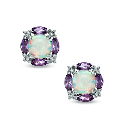 5.0mm Cushion-Cut Lab-Created Opal and Amethyst Earrings in .