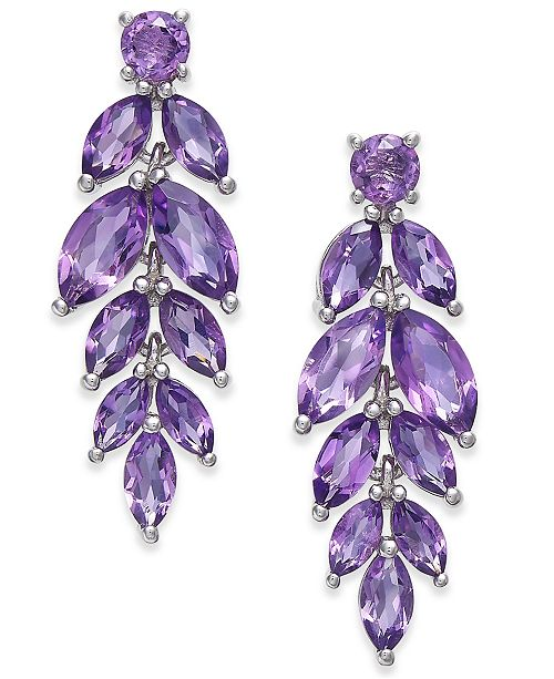 Macy's Amethyst Vine Drop Earrings (5-3/4 ct. t.w.) in Sterling .