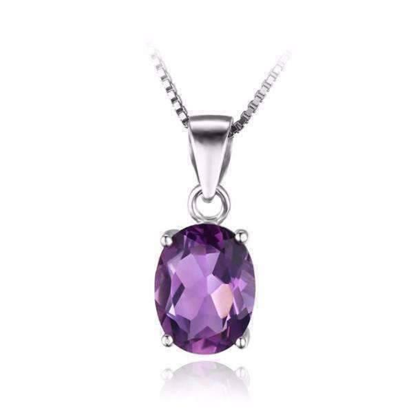 Amethyst Oval Cut 1.7CT IOBI Precious Gems Pendant Necklace .