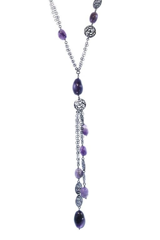 Long Dark Sterling Purple Amethyst Pendant Necklace by Claudio .