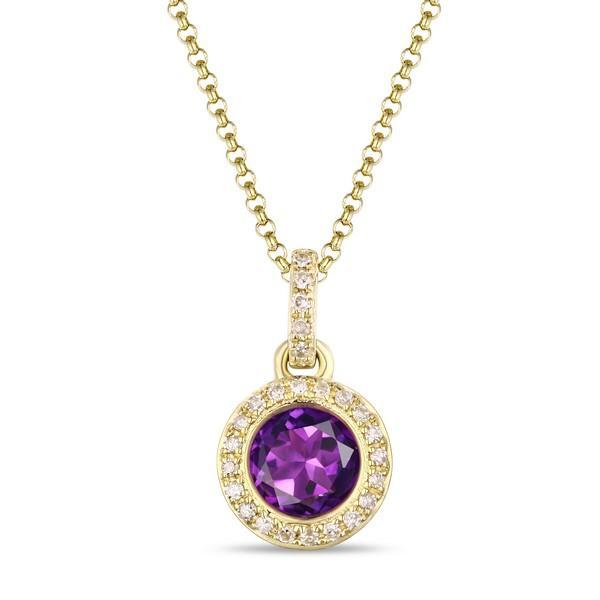 14k Yellow Gold Amethyst and Diamond Halo Pendant– Holsten Jewele