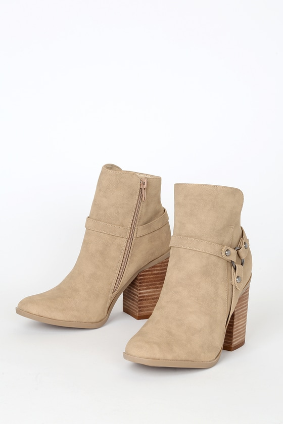 Cute Taupe Booties - Ankle Booties - Block Heel Ankle Boo