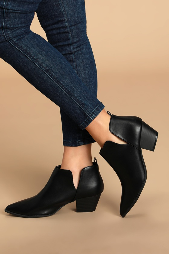 Cute Black Booties - Cutout Ankle Booties - Black Ankle Boo