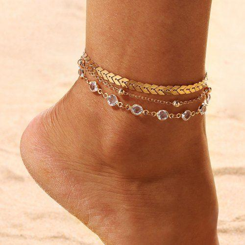 3PCS/SET Gold Color Crystal Star Female Foot Jewelry New Ankle .