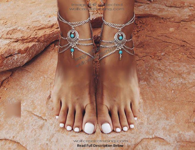 Arizona Sunrise Ankle Bracelets-Turquoise and Silver Jewelry .