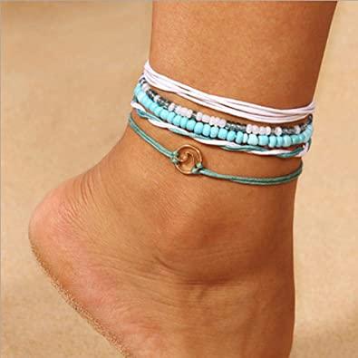 Amazon.com: Yalice Boho Layered Turquoise Anklets Wave Rope Ankle .