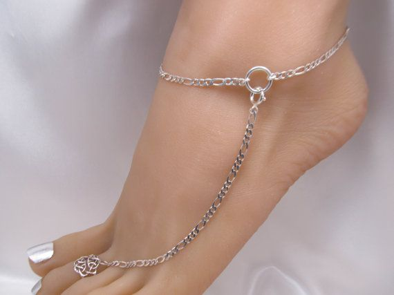 Heavy Sterling Silver Adjustable Anklet, Barefoot Jewelry and Toe .