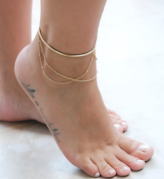 Gold Ankle Cuff Layered Ankle Bracelet Rose Gold Cuff | Et