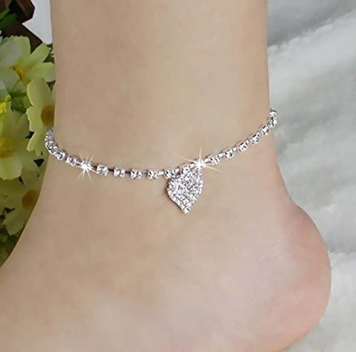 Amazon.com: NEW Lady Crystal Rhinestone Love Heart Anklet Women .