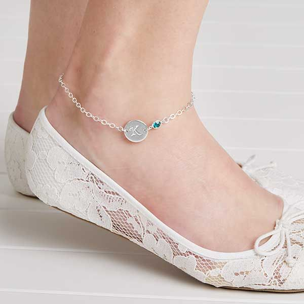 Personalized Ankle Bracelets With Swarovski Birthstones | Ankle .