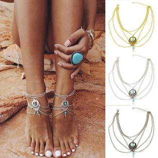 Greatseller New Women Multi-layers Beach Barefoot Ankle Jewelry .