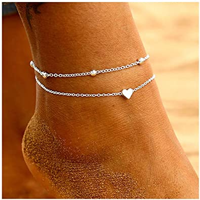 Amazon.com: Osemind Beads Heart Anklets Silver Gold Ankle .