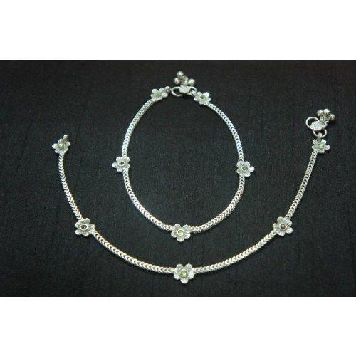 Online Shopping for Silver Anklet with flower design | Anklets .