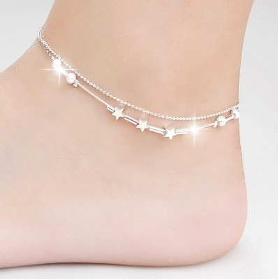 Silver Simple Design Star Anklet (Size: One Size) | Wi