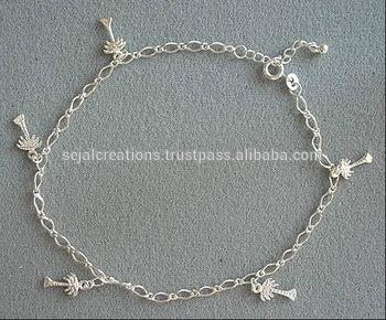 Tree Charm Silver Anklets,basic design anklets,silver anklet .