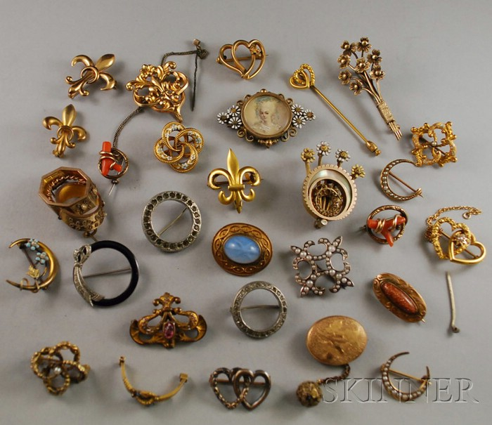 Group of Gold, Silver, and Costume Antique Brooches | Sale Number .