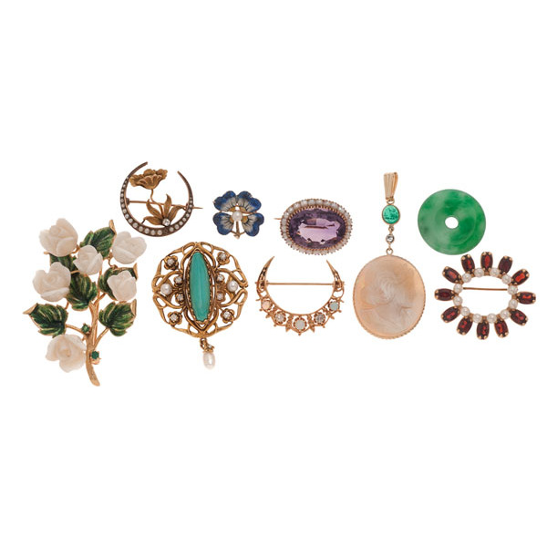 Antique Brooches in Karat Gold with Gemstones PLUS | Cowan's .