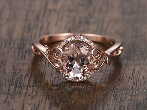 Amazon.com: Antique Pink Morganite Engagement Ring Diamond Halo .