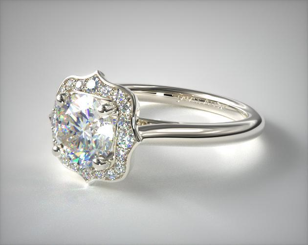 engagement rings, vintage, 14k white gold vintage inspired antique .