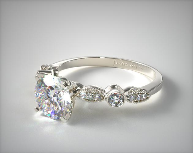 Antique Bezel and Pave Set Engagement Ring | 14K White Gold .