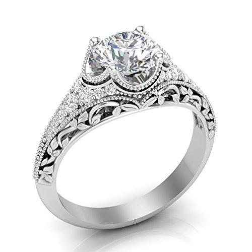 Amazon.com: White Gold Vintage Engagement Ring Antique Filigree .