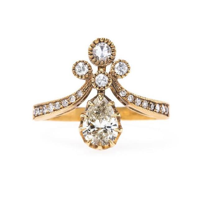 Yellow Gold Tiara Ring | Victorian Vintage Inspired Antique .