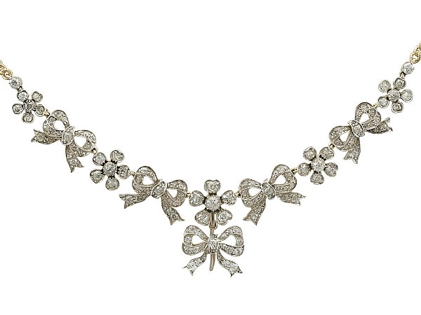 Antique Diamond Bow Necklace | Antique Necklac