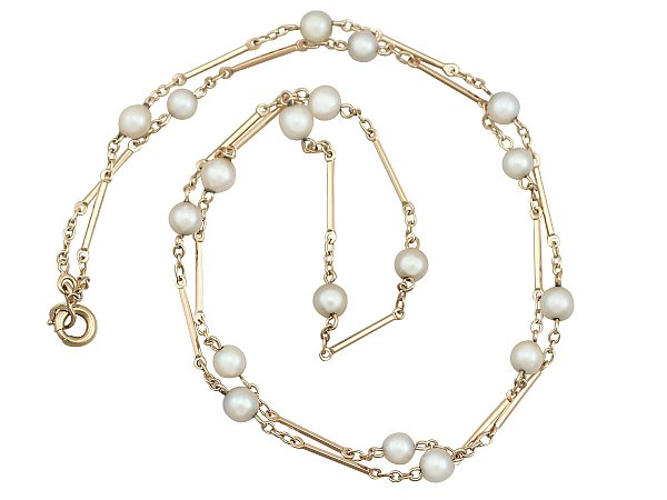 Gold Chain with Pearls | Antique Necklaces | AC Silv